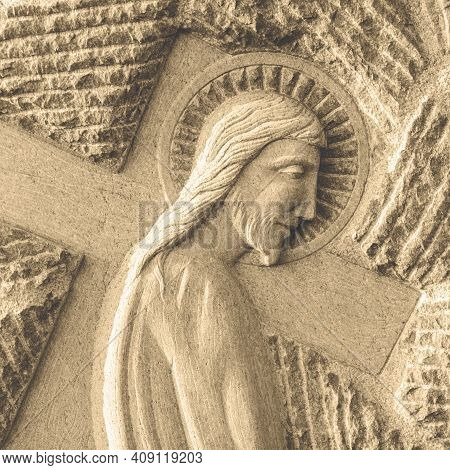 Bas Relief Of Jesus. Ideal For The Easter Concept, Resurrection, Religion.
