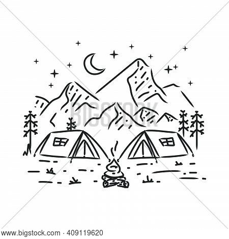 Camping In Mountain Monoline Design Illustration Art