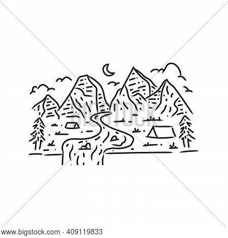 Wanderer Mountain Monoline Design Illustration Vector Art
