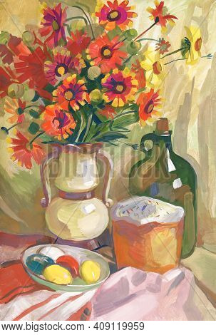 Easter Still Life With Gaillardia In A Vase. Still Life With A Bouquet Of Flowers. Gouache Painting