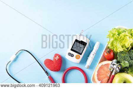 Top View Of Healthy Food In Plate With Stethoscope And Red Heart For Cholesterol Diet And Diabetes C
