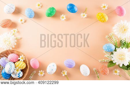 Happy Easter! Colourful Of Easter Eggs In With Flower On Pastel Background. Greetings And Presents F