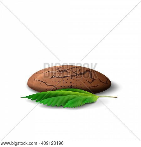 Cannabis Cookies With Leaf Of Cannabis In Volumetric Cartoon Style Isolated On White Background. Can