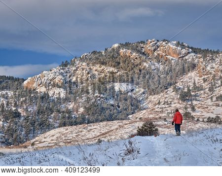 winter hiking at Colorado foothills of Rocky Mountains - Lory State Park near Fort Collins with the view of Arthur's Rock, a local landmark