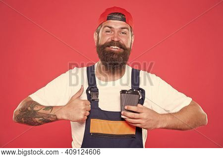 Mechanic Enjoy Coffee. Handsome Builder Hold Coffee Cup. Is Coffee Break The Best Part Of Your Day.