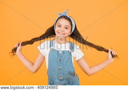 Vacation Time. Fashion Trend. Little Fashionista Yellow Background. Cute Kid Fashion Girl. Summer Fa