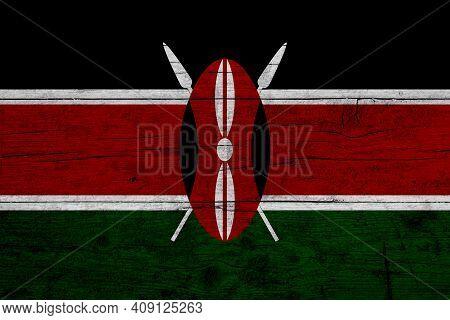Flag Of Kenya Wooden Texture Of The Flag Of Kenya.