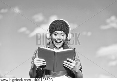 Get High On Sound Quality. Happy Kid Listen To Audio Book Blue Sky. Audio Technology. Audio Courses.