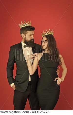 Crown As Recognition. Proud Couple Wear Crowns. Crown Jewels. Business Partners. Leadership And Moti