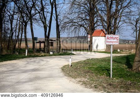 Roadsign Indicating Achtung Staatsgrenze, Meaning In German Attention State Border, In Austria, At T