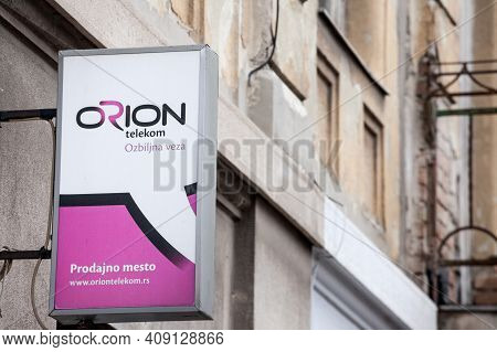 Belgrade, Serbia - January 9, 2021: Orion Telekom Logo In Front Of Their Office In Belgrade. Orion T