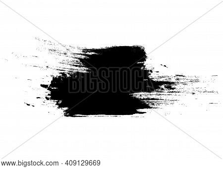 Brush Stroke Template. Grunge Paint Stripes. Distressed Banner. Black Vector Isolated Paintbrush. Mo