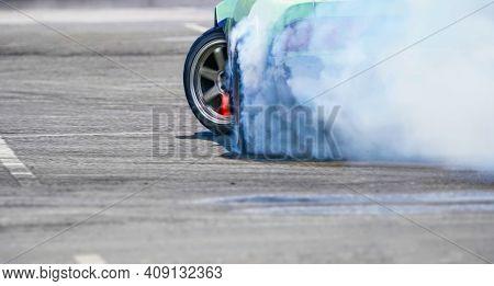 Close Up Drift Race Car Increasing Speed On Drift Playground