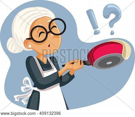 Cooking Granny Failing To Flip A Pancake