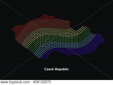 Dynamic Line Wave Lgbt Map Of Czech Republic. Twist Lines Lgbt Map Of Czech Republic. Political Map