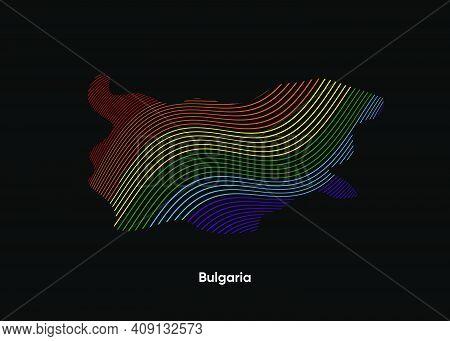 Dynamic Line Wave Lgbt Map Of Bulgaria. Twist Lines Lgbt Map Of Bulgaria. Political Map Bulgaria