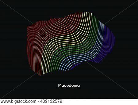 Dynamic Line Wave Lgbt Map Of Macedonia. Twist Lines Lgbt Map Of Macedonia. Political Map Macedonia