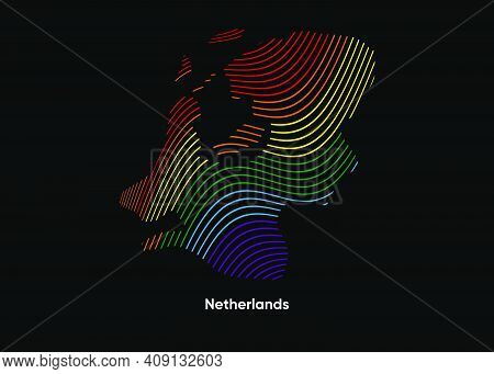 Dynamic Line Wave Lgbt Map Of Netherlands. Twist Lines Lgbt Map Of Netherlands. Political Map Nether