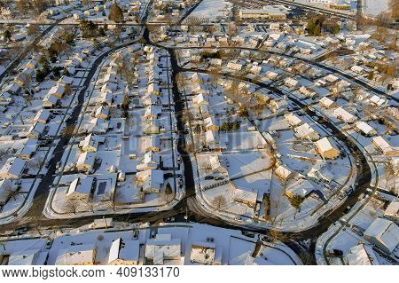 Snowy Winter On The Residential Streets After The Snow Of A Small Town In Winter Landscape