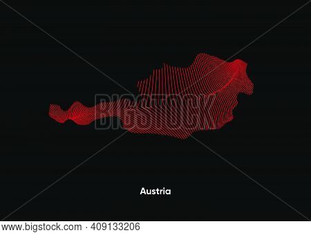 Dynamic Line Wave Map Of Austria. Twist Lines Map Of Austria. Political Map Austria