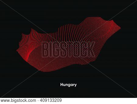 Dynamic Line Wave Map Of Hungary. Twist Lines Map Of Hungary. Political Map Hungary