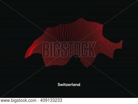 Dynamic Line Wave Map Of Switzerland. Twist Lines Map Of Switzerland. Switzerland Political Map
