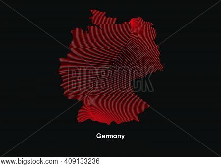 Dynamic Line Wave Map Of Germany. Twist Lines Map Of Germany. Germany Political Map