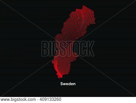 Dynamic Line Wave Map Of Sweden. Twist Lines Map Of Sweden. Sweden Political Map