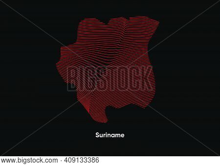 Dynamic Line Wave Map Of Suriname. Twist Lines Map Of Suriname. Suriname Political Map