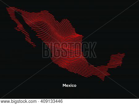 Dynamic Line Wave Map Of Mexico. Twist Lines Map Of Mexico. Mexico Political Map