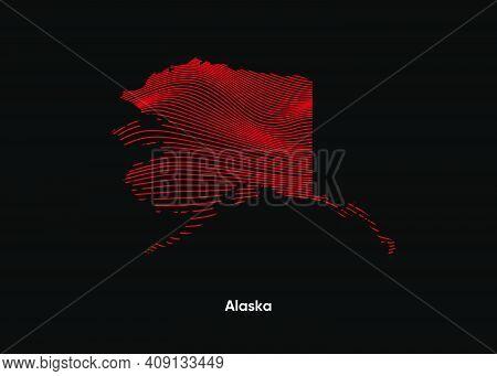 Dynamic Line Wave Map Of Alaska. Twist Lines Map Of Alaska. Alaska Political Map