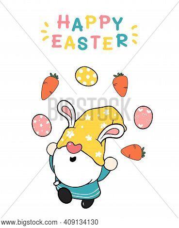 Cute Easter Gnome Bunny Ears Cartoon Doing Easter Eggs Juggling, Happy Easter, Cute Doodle Cartoon V