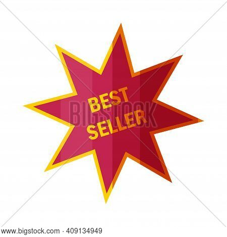Best Seller Sticker Or Badge. Shiny Label For Top Book Sellers In Cartoon Style. Vector Illustration
