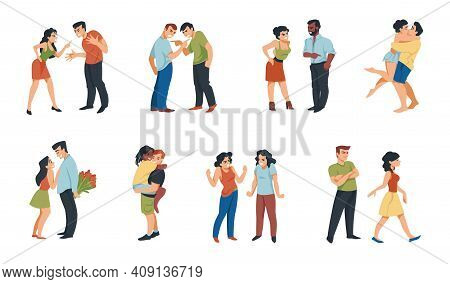 Couple Relationship. Cartoon Scenes Of Romantic Dates Or Quarreling People. Stressed Angry Character