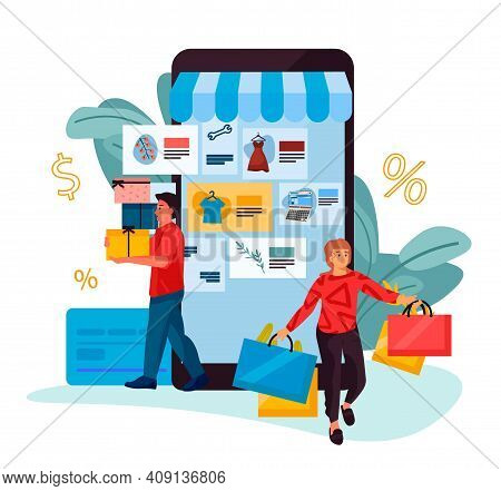 People Shopping. Cartoon Happy Man And Woman Buy Clothes, Electronics And Presents In Online Store.