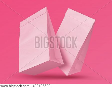 Snack Bag. Realistic Blank Paper Sacks. Pair Of Pink Closed Packages For Food Products. Takeaway Cra