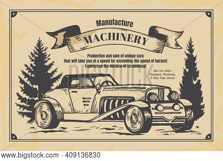 Vintage Newspaper Banner. Machinery Manufacture Poster On Aged Yellow Newsprint. Hand Drawn Retro Au