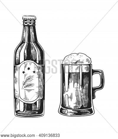 Vintage Pub Glass Mugs With Beer. Hand Drawn Bottle And Pint Cup With Refreshing Foam Alcohol Bevera