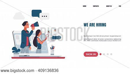 Workers Hiring Landing Page. Recruitment Concept. Vacancy Announcement. Staff Recruiting. Hr Manager