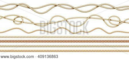 Realistic Ropes. 3d Natural Sailor Twisted Threads. Seamless Jute Cords Borders With Intertwined Tex