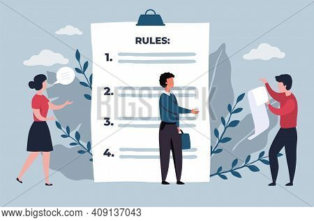 Business Rules. Regulations List Concept. Company Policy, Rights And Responsibilities Of Employees.