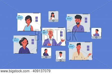 Online Conference. Team Working From Home, People Chatting, Desk Provides Collective Virtual Chat Us