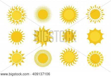 Sun Icons. Round Simple Graphic Element Collection, Summer Sun Yellow Weather Symbols For Print And
