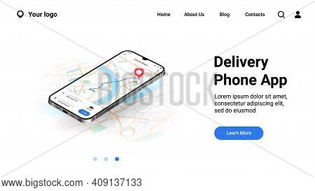 Phone City Map Landing Page. Mobile Delivery Application Interface. Online Tracking Courier Route On
