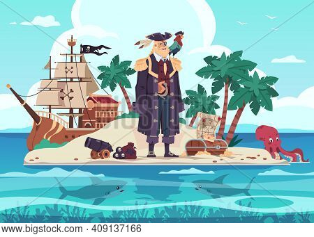 Pirate Island. Cartoon Kids Adventure Illustration With Captain Of Marine Brigands And Treasure Ches