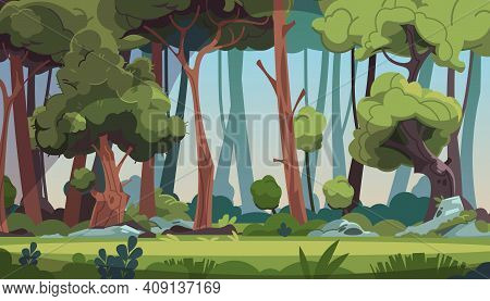Forest Landscape. Cartoon Dense Wood With Green Foliage And Strong Tree Trunks. Scenic Grassy Meadow