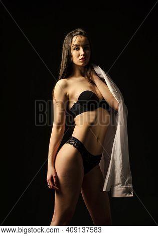 Lingerie Boutique. My Body My Rules. Sexy Female. Beautiful Girl With Sexy Look In Lace Underwear. P