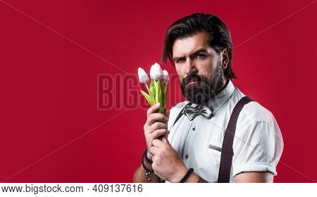 Happy Valentines Day. Old Fashioned Bearded Hipster Hold Tulip Flower Bouquet. Floristic Concept. Br