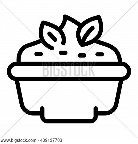Bowl Mashed Potatoes Icon. Outline Bowl Mashed Potatoes Vector Icon For Web Design Isolated On White
