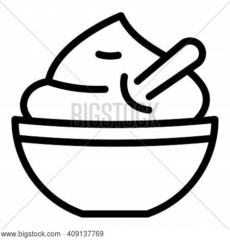 Lunch Mashed Potatoes Icon. Outline Lunch Mashed Potatoes Vector Icon For Web Design Isolated On Whi